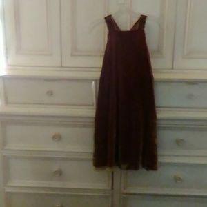LOFT Gold velvet swing dress